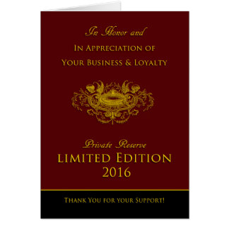 """Vintage Private Reserve """"Limited Edition 2016"""" Card"""
