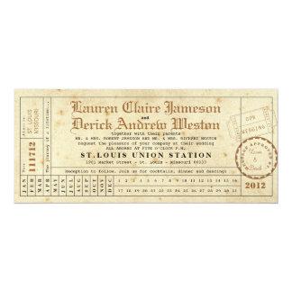 Vintage Punch Card Tea Length Invitation