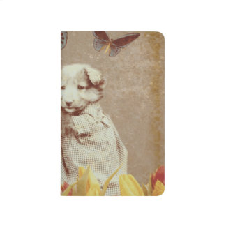 Vintage Puppy Flowers Butterfly Grunge III Journal