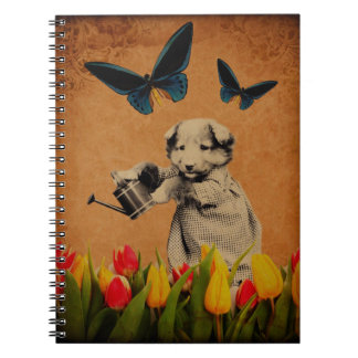 Vintage Puppy Flowers Butterfly Grunge Notebook