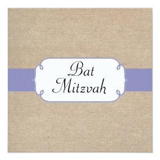 Vintage Purple and Beige Burlap Bat Mitzvah Card