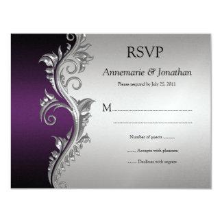Vintage Purple Black and Silver Ornate Swirls RSVP Card
