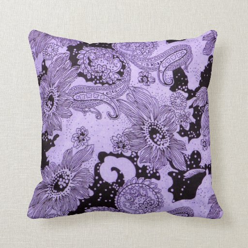Vintage Purple Floral Fabric Throw Pillow