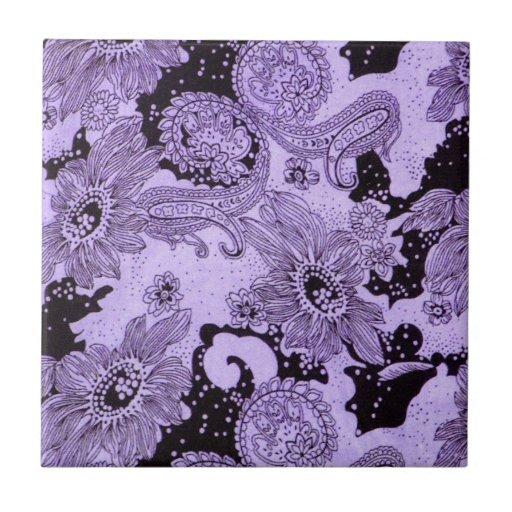 Vintage Purple Floral Fabric Tile
