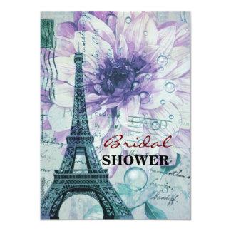 vintage purple floral paris eiffel tower 11 cm x 16 cm invitation card