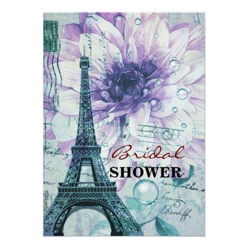 vintage purple floral paris eiffel tower custom invitation