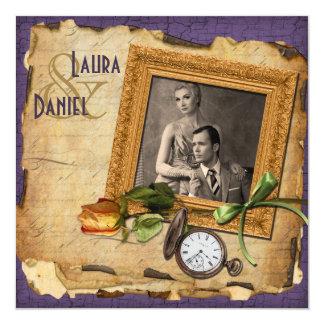 Vintage Purple Gold Frame Photo Wedding Invite