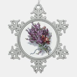 Vintage Purple Lavender Flowers Floral Bouquet Snowflake Pewter Christmas Ornament