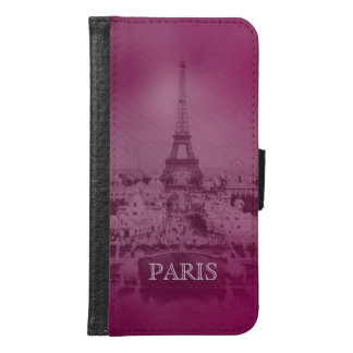 Vintage Purple Paris and Eiffel Tower Samsung Galaxy S6 Wallet Case