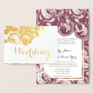 Vintage Purple Rose Gold Foil Wedding Invitations
