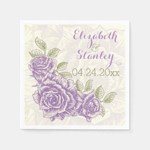 Vintage purple roses floral wedding disposable napkin