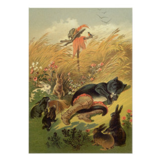 Vintage Puss in Boots Fairy Tale Carl Offterdinger Posters