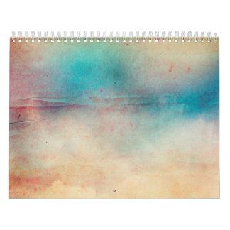 Vintage Rainbow Distressed Ombre Texture Print Calendars
