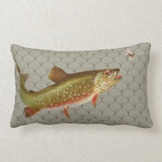 Vintage rainbow trout fly fishing lumbar pillow