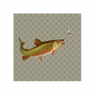 Vintage rainbow trout fly fishing photo sculpture magnet