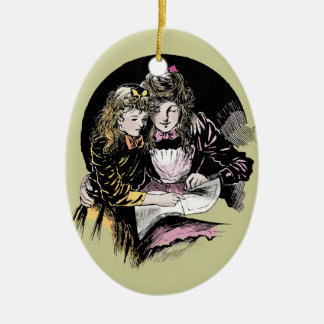 Vintage Reading - Mom and daughter Christmas Ornament
