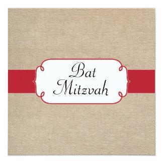 Vintage Red and Beige Burlap Bat Mitzvah Card