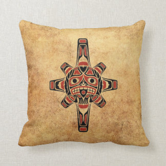 Vintage Red and Black Haida Sun Mask Throw Pillow