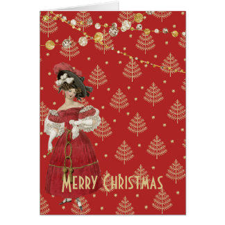 Vintage Red and Gold Fashion Christmas Card