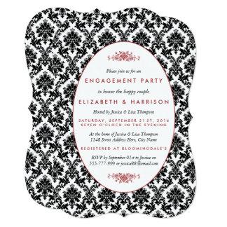 Vintage Red, Black, White Damask Engagement Party 13 Cm X 18 Cm Invitation Card
