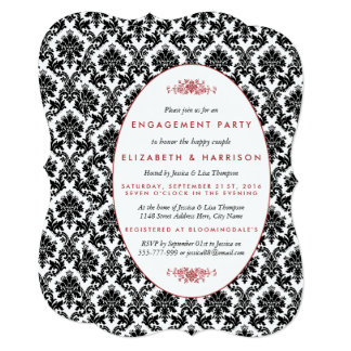 Vintage Red, Black, White Damask Engagement Party Card
