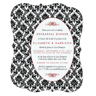 Vintage Red, Black, White Damask Rehearsal Dinner 13 Cm X 18 Cm Invitation Card