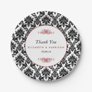 Vintage Red, Black & White Damask Wedding 7 Inch Paper Plate
