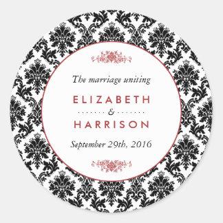 Vintage Red, Black & White Damask Wedding Favor Round Sticker
