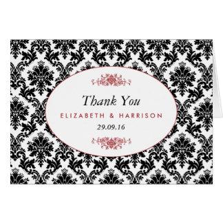 Vintage Red Black & White Damask Wedding Thank You Note Card