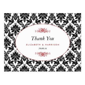 Vintage Red Black & White Damask Wedding Thank You Postcard