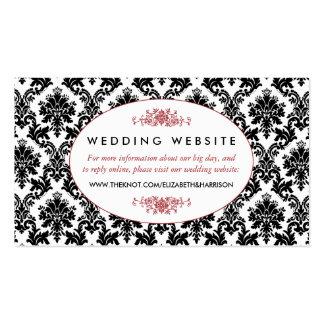 Vintage Red, Black & White Damask Wedding Website Pack Of Standard Business Cards