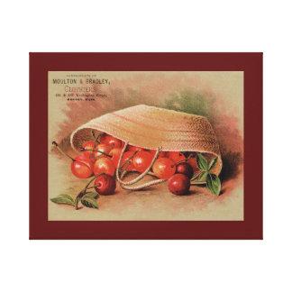 Vintage Red Cherries in a Basket Canvas Print