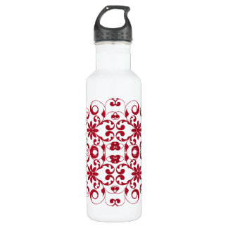Vintage red floral shabby and chic pattern 710 ml water bottle