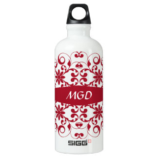 Vintage red floral shabby and chic with monogram SIGG traveller 0.6L water bottle