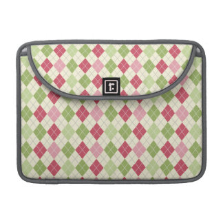 Vintage Red, Green, and Pink Argyle Pattern Sleeve For MacBooks