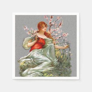Vintage Red Hair Lady Pink Flowers Flowing Gown Paper Napkin