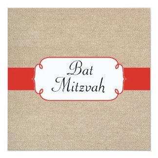 Vintage Red Orange and Beige Burlap Bat Mitzvah Card