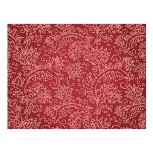 Vintage Red Paisley Damask Design Postcards