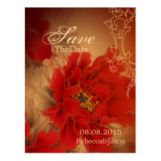 Vintage Red Peony Chinese Wedding save the date Postcard