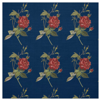 Vintage Red Rose Fabric