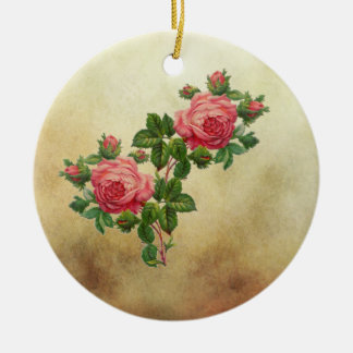 vintage red roses christmas ornament