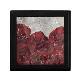 Vintage Red Roses Oil Pallete Texture Gift Box