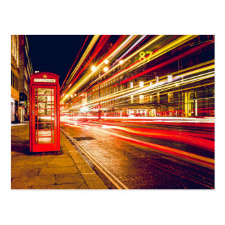 Vintage Red Telephone Box at Night in London Postcard