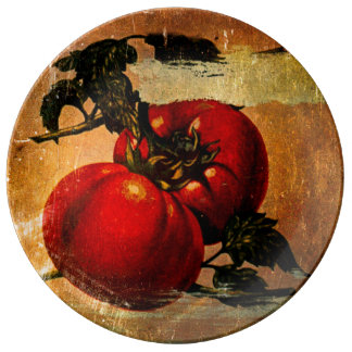 Vintage red tomatoes plate