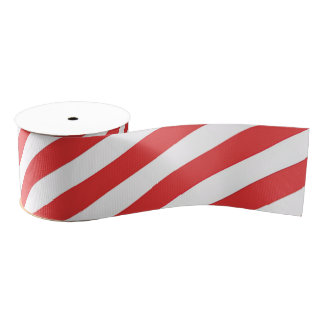 Vintage Red White Girly Stripes Pattern Grosgrain Ribbon