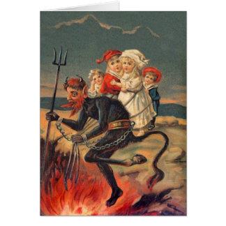 Vintage Redheaded Krampus Greeting Card