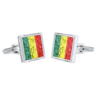 Vintage reggae flag silver finish cufflinks