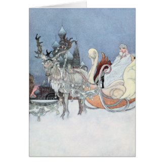 Vintage Reindeer and Sleigh by Charles Robinson Greeting Card