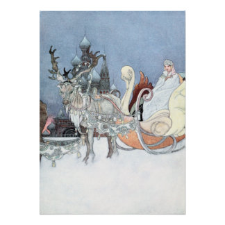 Vintage Reindeer and Sleigh by Charles Robinson Poster