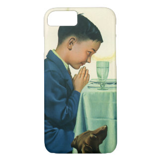Vintage Religion, Boy Saying Grace at Thanksgiving iPhone 8/7 Case